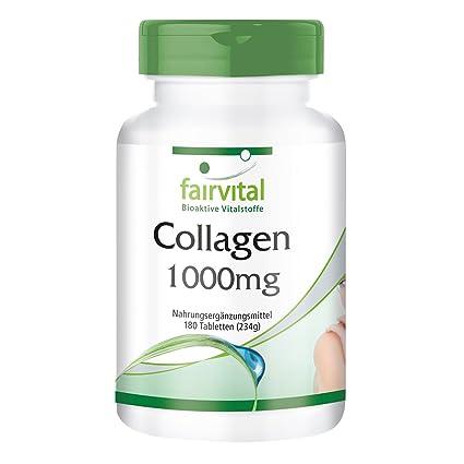 Colágeno - para 20 días - Alta dosificación - 180 comprimidos - con Vitamina C y