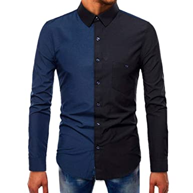 1343b2c361 VPASS Men Long-Sleeve Beefy Muscle Oxford Basic Solid Splicing T ...