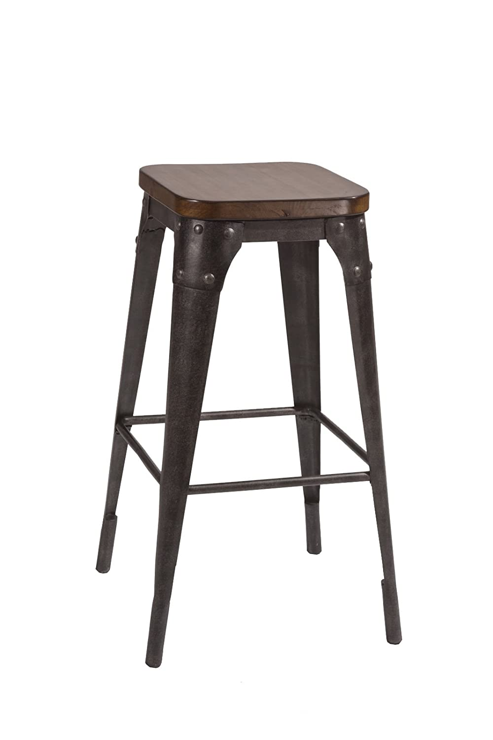 Hillsdale Furniture Morris Non-Swivel Bar Stool, Black Pecan finish