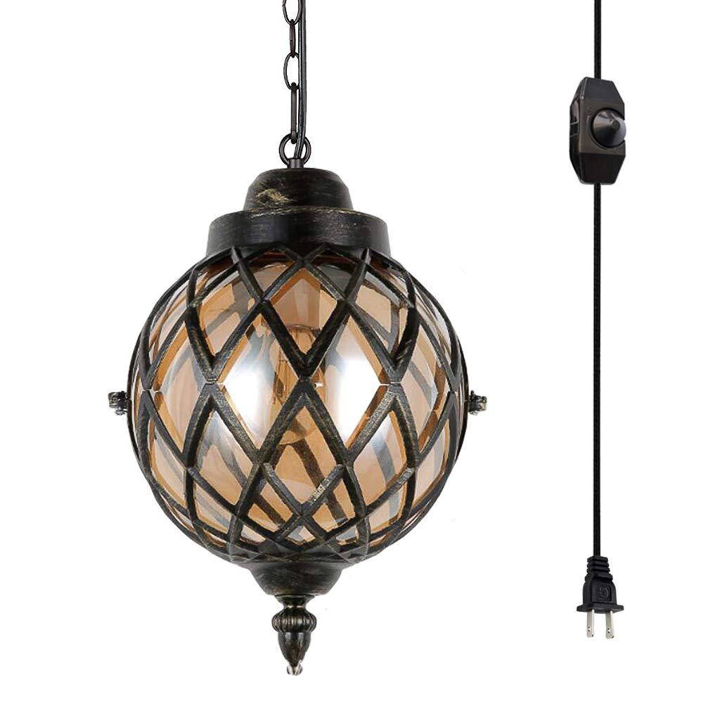 Kiven plug in industrial globe pendant light w 15 ft hanging cord