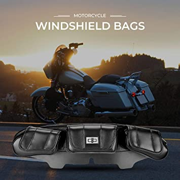For 1996-2013 Harley Touring Electra Black Motorcycle Three-Pocket Fairing Pouch Windshield Bags