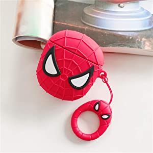 Airpods Case Spiderman |Super Hero airpod Cases Compatible with Apple AirPods 1 and 2 Silicone Airpods Case Cover Supports Charging Case and Earbud Case, Extra Protection - Red