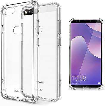 Moozy Coque Silicone Transparente pour Huawei Y7 2018 - Anti Choc Crystal Clear Case Cover Étui de Flexible Souple TPU