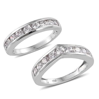 J FRANCIS Women Platinum Plated Sterling Silver Made with Swarovski® Zirconia Halo Ring Size R kS1bNYVD