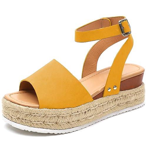 3668bf50aaf Athlefit Women's Summer Platform Sandals Espadrille Wedge Ankle Strap  Studded Open Toe Sandals