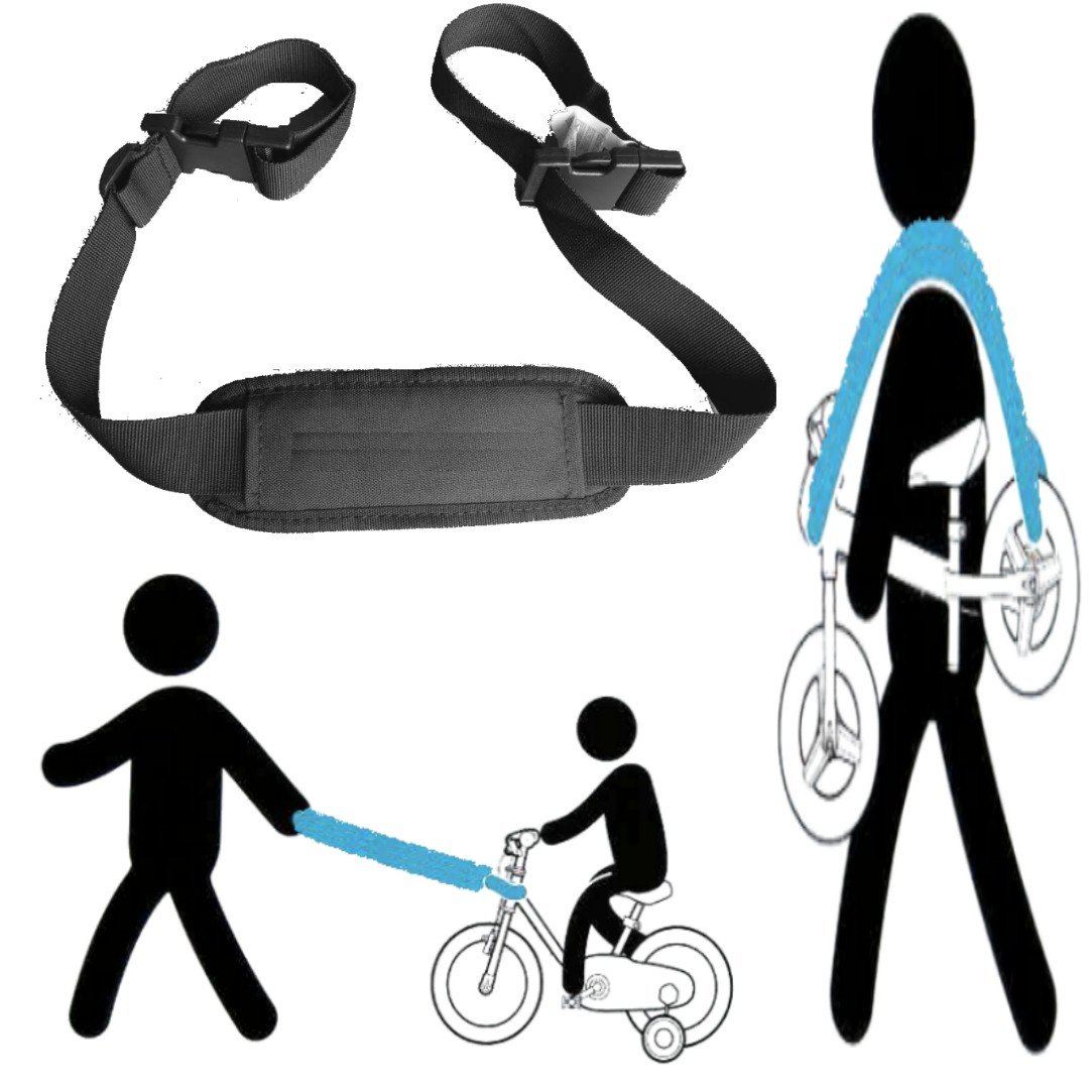 shoulder carrying strap for kids balance bike, to lead the kid's bike as trailer , carry on shoulder, or on stroller handle bar Relho