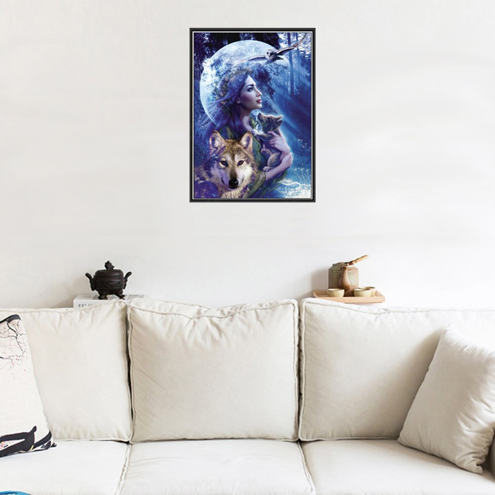 Tianmai Hot nouveaux DIY 5d Diamant Peinture kit Cristaux Diamant Broderie Strass Peinture Collez-le Peinture par num/éro Kits point de Craft Kit Home Decor Sticker mural/ /Lune Loup de beaut/é 30/x 40/cm