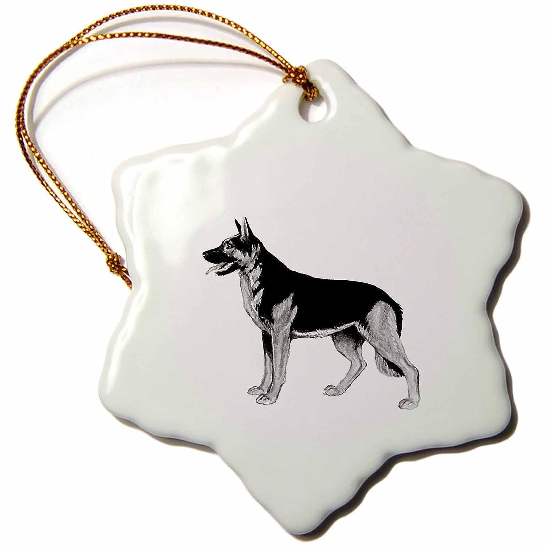 orn/_58161/_1 3dRose Anne Marie Baugh Dogs German Shepard Dog 3 inch Snowflake Porcelain Ornament