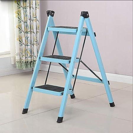AFDK Escalera de hierro de 3 escalones Escalera plegable para el hogar Escalera de aislamiento Escaleras multifunción Escalera plegable Escalera portátil de un solo lado,Azul claro: Amazon.es: Bricolaje y herramientas