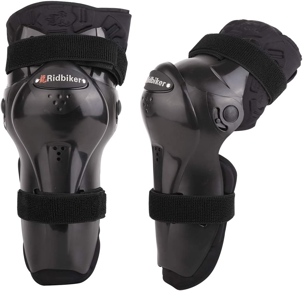 B Baosity 2Pcs Motorcycle Elbow Pads Adults Alloy Steel ATV Motocross Bike Bicycle Racing Elbow Shin Guards Protector