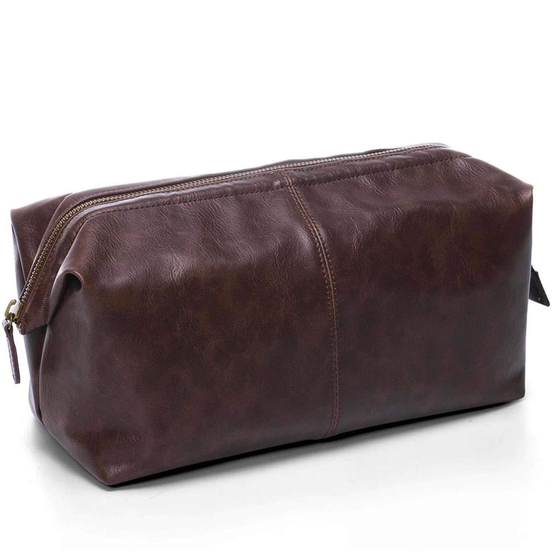 Toiletry Bag for Men, PU Leather Travel Wash Bag, Waterproof Toiletry Organizer Makeup Bag Bathroom Bag, Cosmetic Bag Business Gift for Men