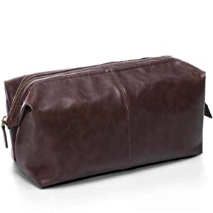 Toiletry Bag for Men, PU Leather Travel Wash Bag, Waterproof Toiletry Organizer Makeup Bag Bathroom Bag, Cosmetic Bag Business Gift for Men