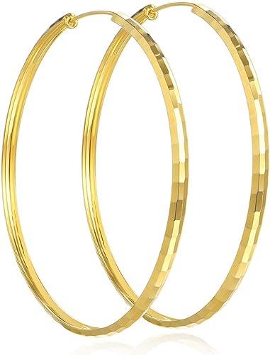 """75 mm 3/"""" Diameter Big Square Tube Gold Plated Hoop Earrings"""