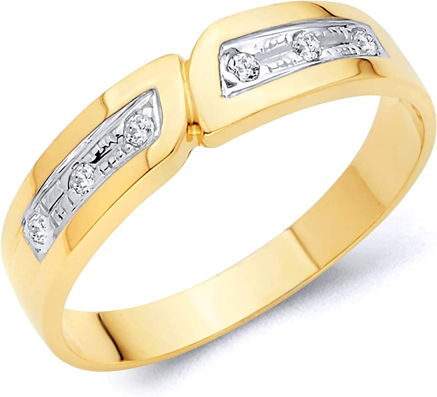 Wellingsale Mens Solid 14k Tri 3 Color Gold Polished CZ Cubic Zirconia Wedding Band