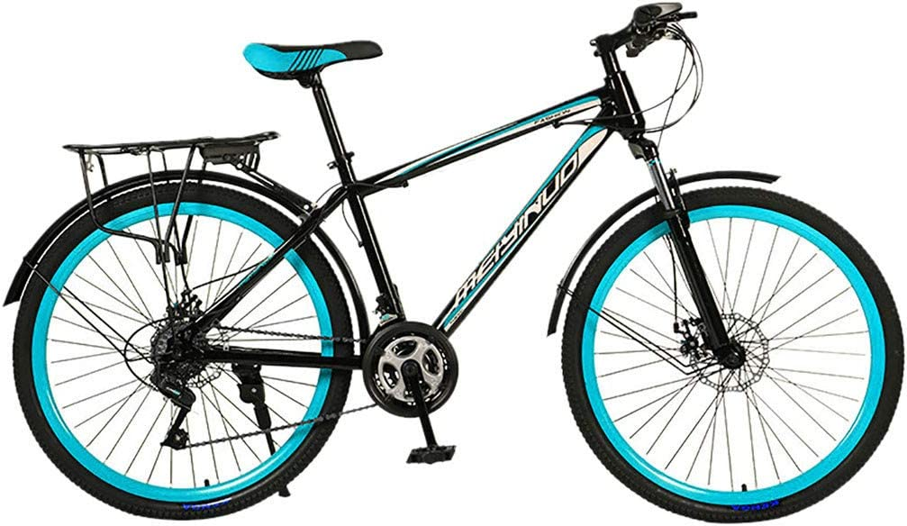 Outdoor Sports Bicycle Adult Mountain Bikes 26 Inch Full Suspension 21 Speed ​​Gears Dual Disc Brakes Mountain Bicycle with Rear Racks for Women Men