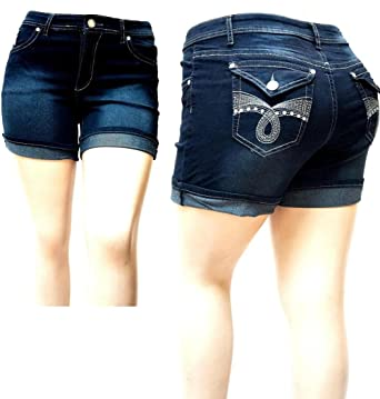 143fdac0c01 LA CHULA IVE32 Women s Plus Size Dark Blue Denim Jeans Short Tretch Premium  1826 (14