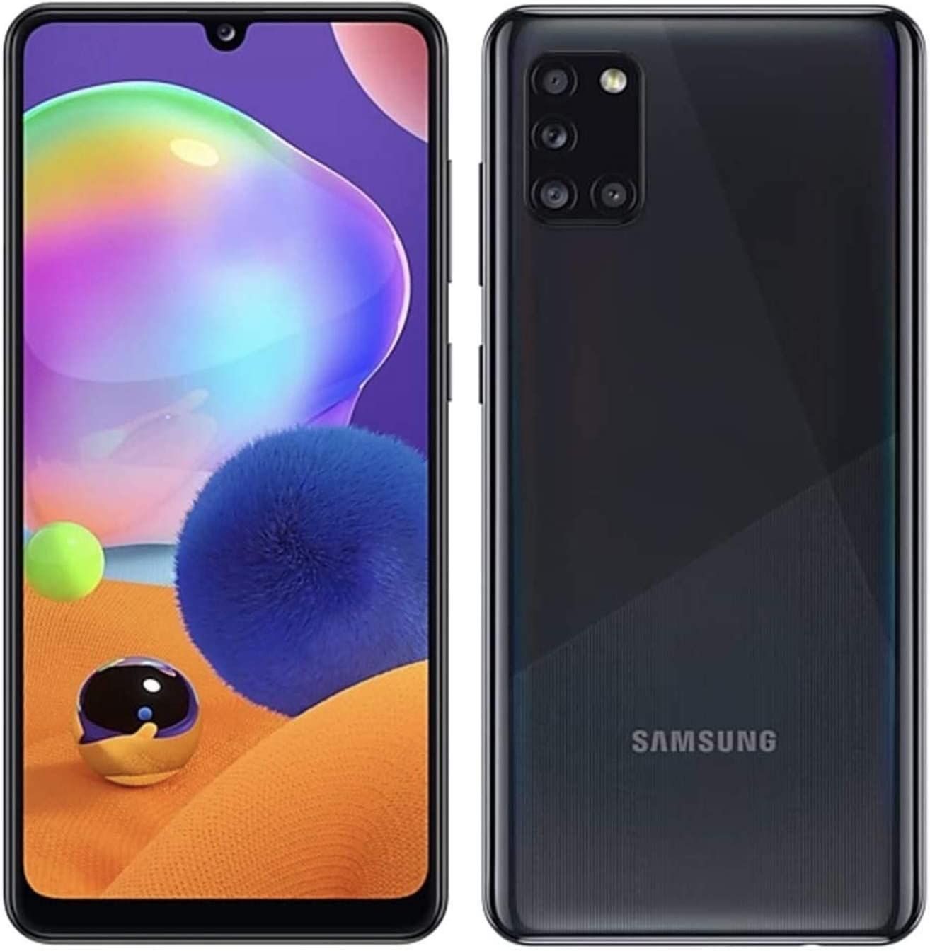 Samsung Galaxy A31-64GB / 4GB - A315G/DSL Unlocked Dual Sim Phone w/Quad Camera 48MP+8MP+5MP+5MP GSM International Version (Prism Crush Black)