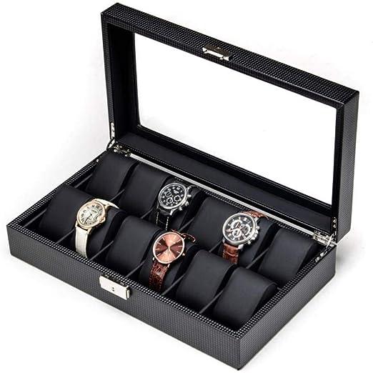 GOVD Caja para Guardar Relojes, con 12 Ranuras Caja Relojes Hombre ...