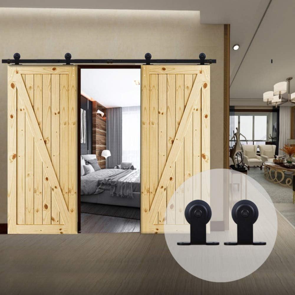 CCJH 8.2FT-250cm Herraje para Puerta Corredera Kit de Accesorios para Puertas Correderas Rueda Riel Juego para Dos Puertas de Madera: Amazon.es: Bricolaje y herramientas