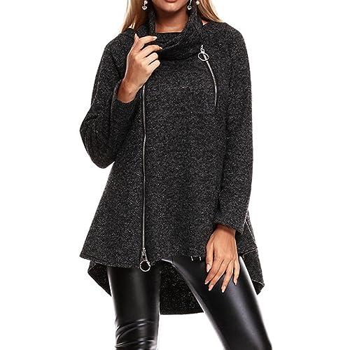 Sudadera mujer con cremallera para mujer, LILICAT Chaqueta larga de invierno A-Line con bufanda, Outwear de algodón de Moda