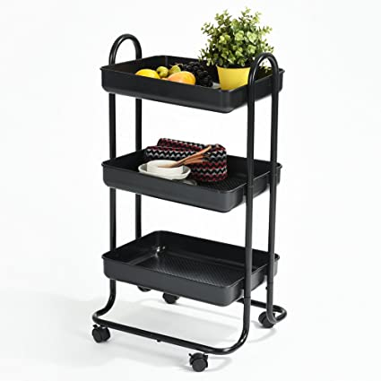 Amazon.com - Fanilife Kitchen Dining Rolling Cart Trolley 3 Storage Shelves Plastic Steel Black - Bar & Serving Carts