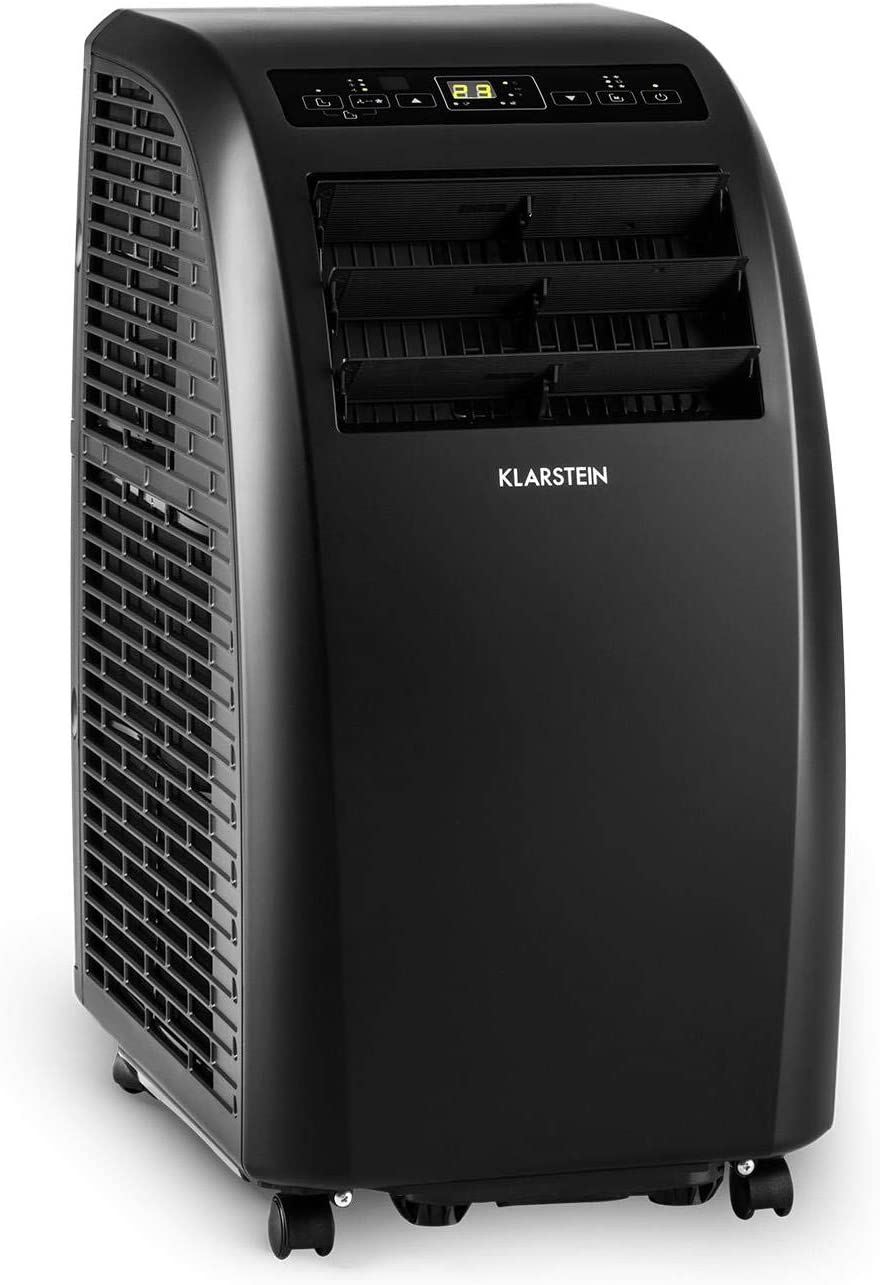 KLARSTEIN Metrobreeze Portable Air Conditioner with Timer, 10,000 BTU, Adjustable temperature between 65 and 85 ° F, 3 Modes of Operation: Cooling, Drying and Fan, Rollers, Black