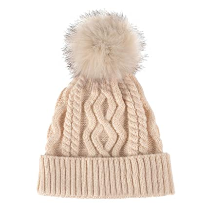 0ef16379a60 SUEKQ Unisex Women Men Winter Cable Knit Faux Fur Pompoms Beanie Hat Chunky  Hat Bobble Hat