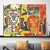 海外限定 ジャン=ミシェル・バスキア Jean-Michel Basquiat 大型サイズあり キャンバス ポスター 美術品 絵画 (60×80cm)