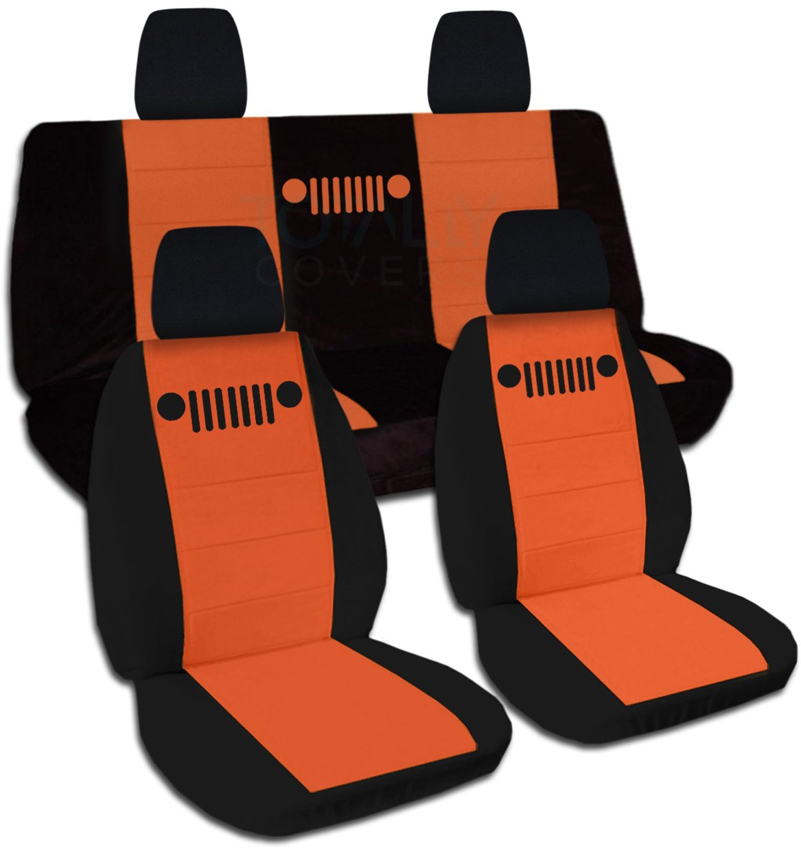 Totally Covers Fits 2018-2019 Jeep Wrangler JL Two-Tone Seat Covers: Black & Orange - Full Set: Front & Rear (21 Colors) 2-Door/4-Door Solid/Split Bench Back w/wo Armrest/Headrest