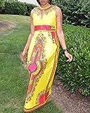 Sunward Women Vintage Traditional African Dress O-Neck Party Maxi Sleeveless Long Dress (Yellow, M)