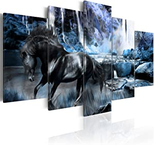 "Blue Waterfall Canvas Art Wall Decor Black Horse Picture Modern Landscape Painting Bedroom Office Decoration Framed and Stretched (CY04, Small W40"" x H20"")"