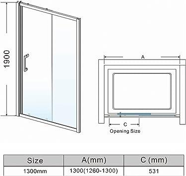 Puerta corredera de ducha de 1300 mm, moderna para baño, 8 mm, fácil de limpiar: Amazon.es: Bricolaje y herramientas