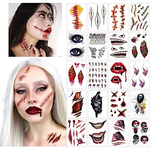 SHANGXING 20 Sheets Halloween Temporary Tattoos, Costumes Zombie Tattoos, Makeup Scary Injury Stickers for Halloween Trick,Party Cosplay Costume -