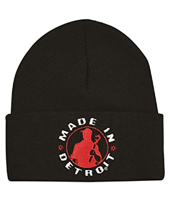 Made In Detroit Beanie - Mid Cuff - Black w Red at Amazon Men s ... 240a7515b1e