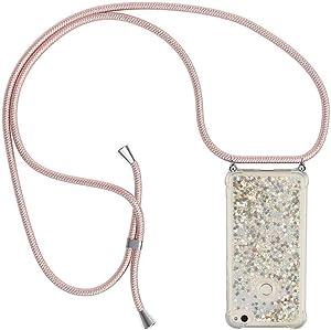 Ptny Case Funda Colgante movil con Cuerda para Colgar Huawei P8 Lite 2017 Carcasa Correa Transparente de TPU con Cordon para Llevar en el Cuello con Ajustable Collar Cadena Cordón en Oro Rosa