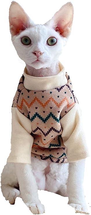 ZHIHAN Jersey Polar para otoño e Invierno, Ropa de Gato Sphinx, Abrigo Vintage de Gato sin Pelo, abrigado, hipoalergénico, marrón Claro, XL: Amazon.es: Productos para mascotas