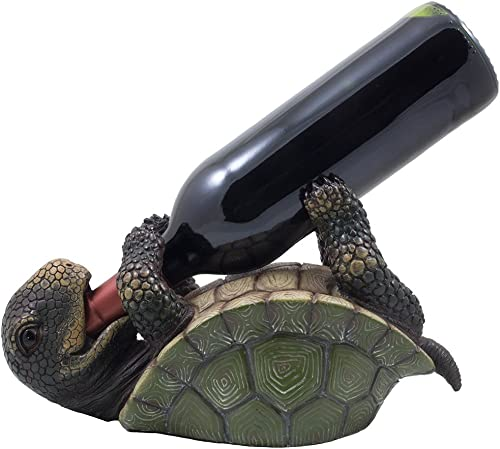 Drinking Turtle Wine Bottle Holder Statue As Decorative Tabletop Wine Racks and Display Stand