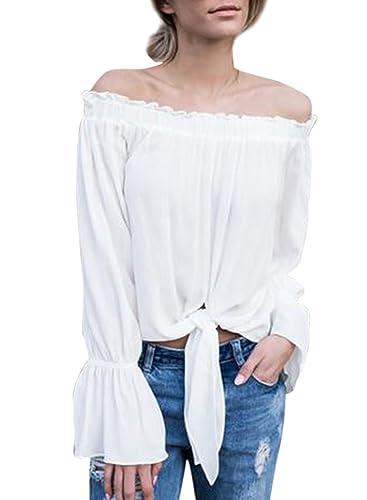 Azbro Mujer Blusa de Gasa Corbata Frontal Fuera de Hombro
