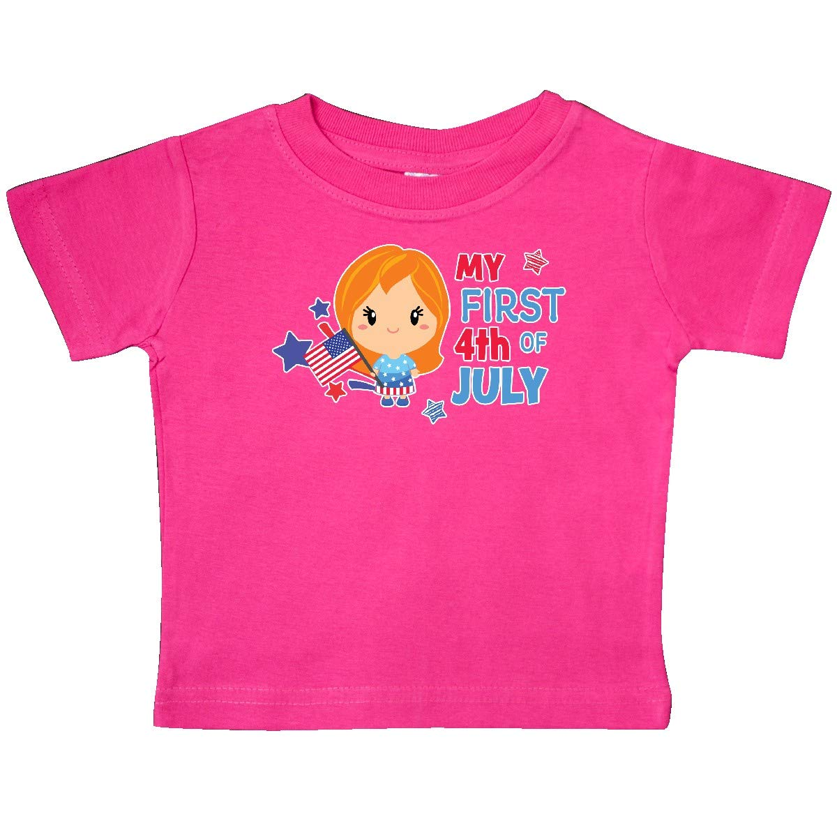 inktastic My First 4th of July with Red Haired Girl Stars and Flag Baby T-Shirt