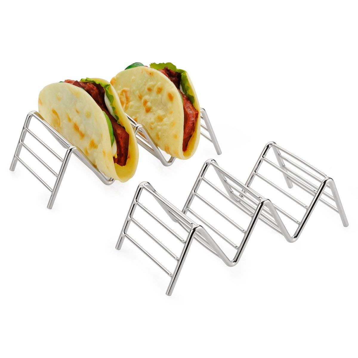 KABB 2-Pack Holder, Stand Stainless Steel Rustproof Rack Hold 2 or 3 Hard or Soft Shells Taco Truck Tray Style Oven Safe for Baking, Silvery