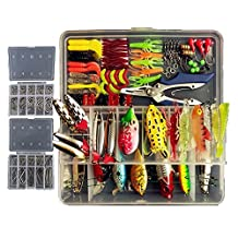 Freshwater Fishing Lures Topconcept Tackle Boxes with Tackle included Frog Lures Hard Metal Lure VIB Rattle Crank Popper Minnow Pencil Metal Jig Hook for Trout Bass Salmon 234Pcs 1 Set