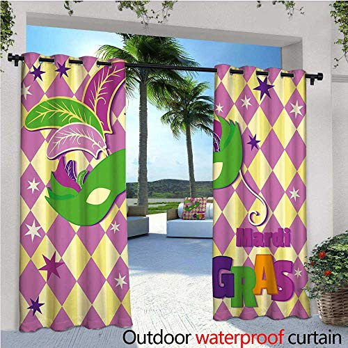 cobeDecor Mardi Gras Indoor/Outdoor Single Panel Print Window Curtain Checkered Pattern with Stars Graphic Mask Harlequin Festival Composition Silver Grommet Top Drape W120 x L108 Pink Yellow Green