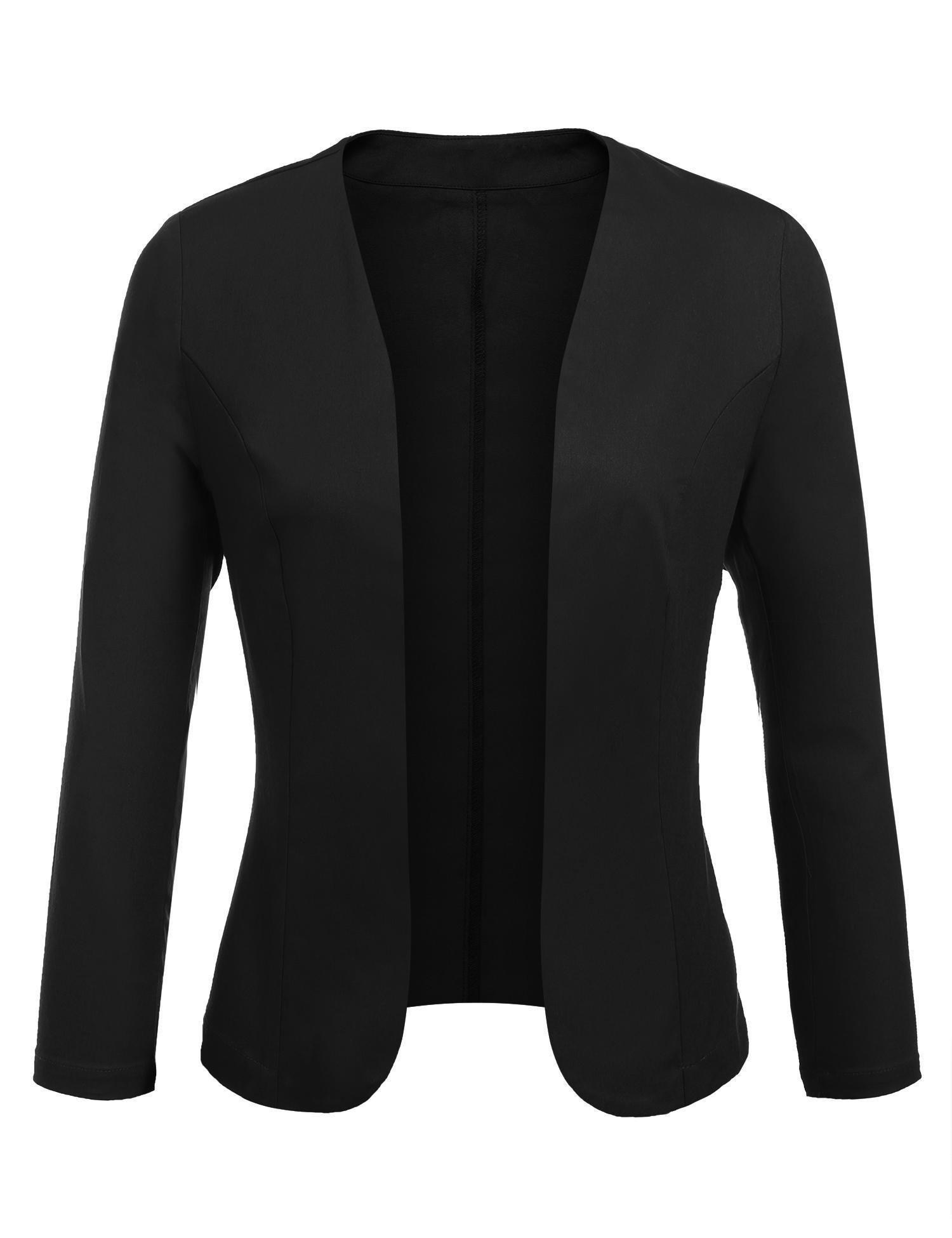 Concep Women's Cropped Blazer Casual Work Office Jacket Lightweight Slim Fit Cardigan (Black, L)
