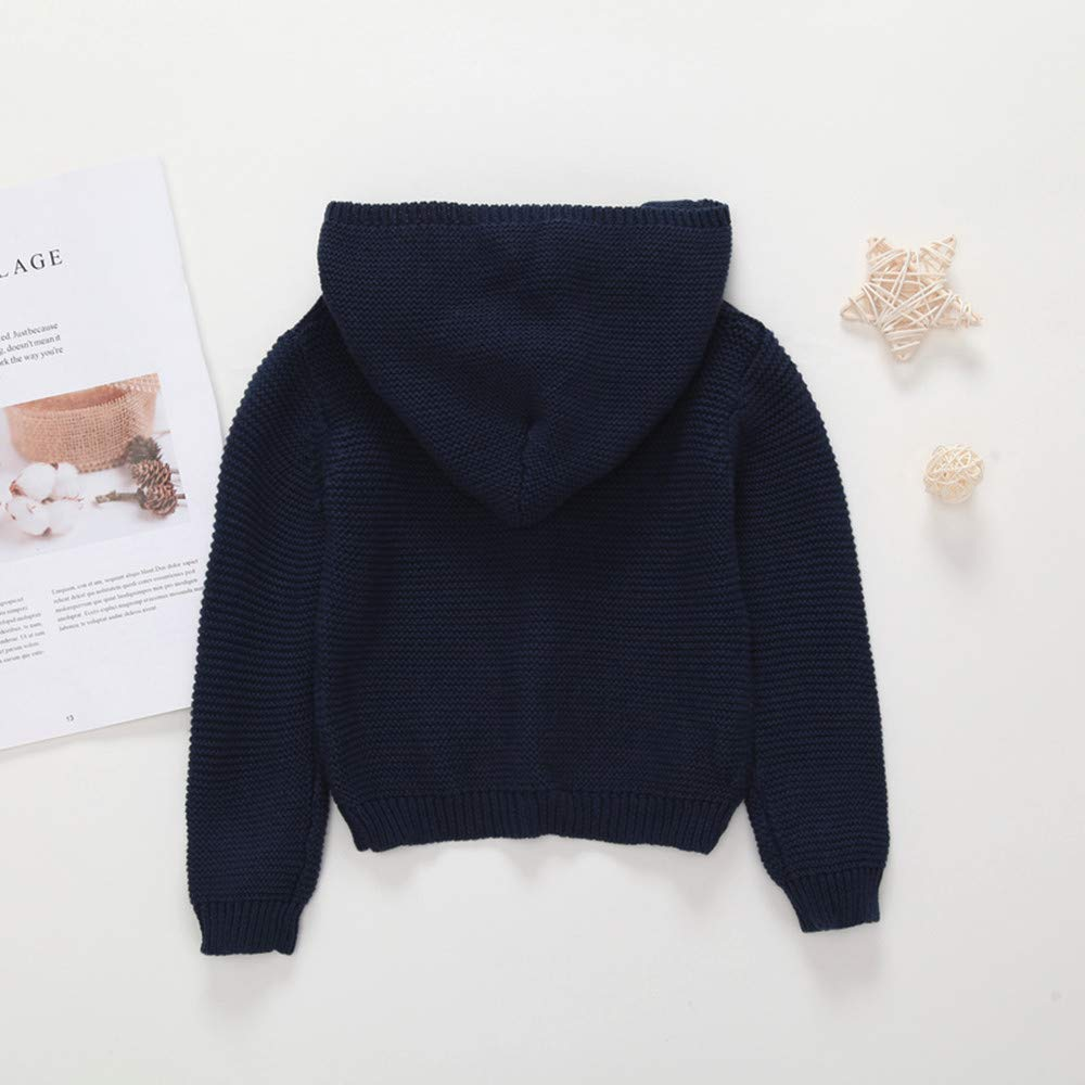 Autumn Winter Kids Sweater,Fineser Baby Boy Girl Pure Color Warm Knitted Hooded Cardigan Tops Sweater Jacket Coat 4 Colors