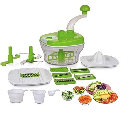 9. Slings 14 pcs Manual Food Processor - Chopper, Blender, Atta Maker, Dough Kneader - Green