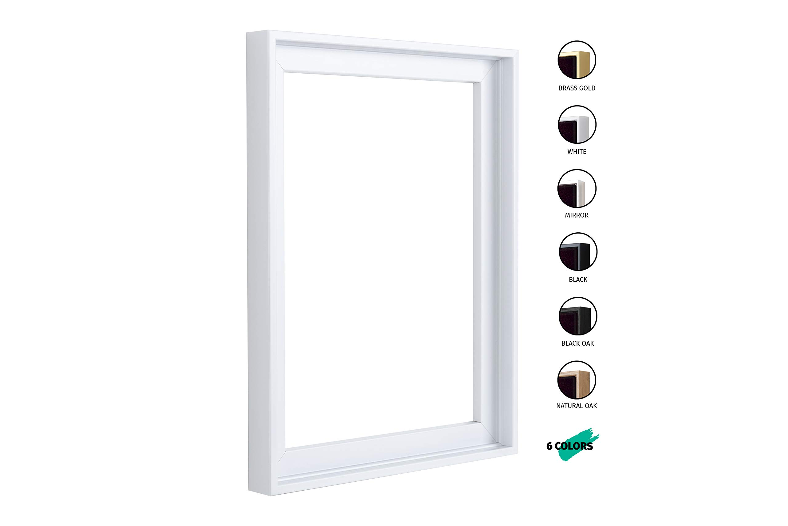 Floater Frames for Canvas Paintings 16x20   6 Colors   Floater Frame for Stretched Canvas, Canvas Panels and Finished Artwork   1-3/8'' Thick for 3/4'' Deep Canvas (White, 16 x 20 inch) by Pixy Canvas