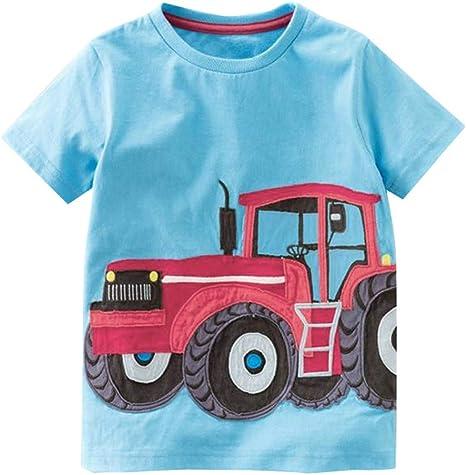 LOPILY Camiseta De Manga Corta para Niños Bebés con Estampado De Dibujos Animados Niños Ropa Corta Blusa: Amazon.es: Ropa y accesorios
