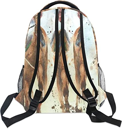 SINOVAL Laptop Bag Watercolor Painting Horse Race Riding Sport Jockeys Competition Recreation Derby Track Bet Win Cours