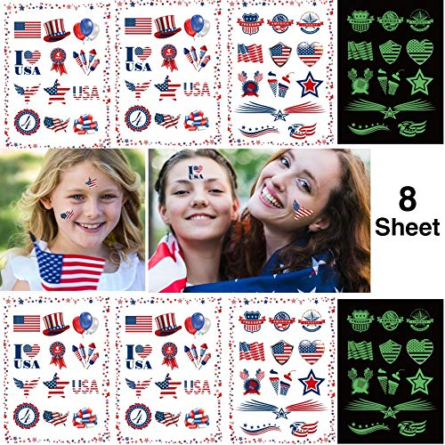 Fourth of July Tattoos 8 Sheets Independence Day Patriotic Party Accessories, including 4 Sheets Glow In The Dark Tattoos