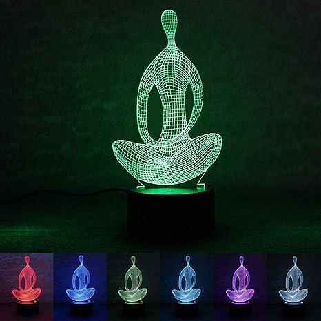 Meditador de yoga Lámpara de ilusión 3D, 7 colores ...